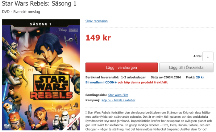 Rebels Säsong 1 DVD